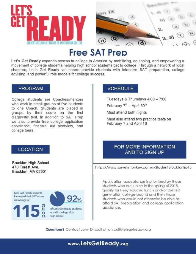 SAT Prep in Brockton Spring 2015